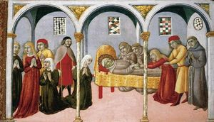 Sano Di Pietro - Donna Perna Being Cured on Approaching St Bernardino-s Body