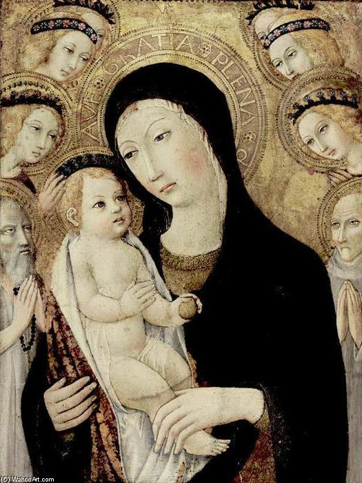 Order Reproductions | Madonna and Child with Sts Anthony Abbott and Bernardino of Siena, 1450 by Sano Di Pietro (1406-1481, Italy) | WahooArt.com