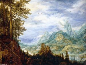 Roelandt Savery - Mountainous Landscape with a Castle