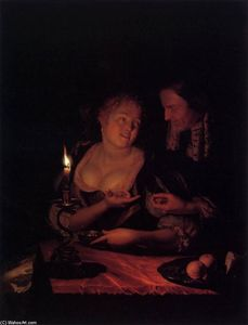 Godfried Schalcken - Gentleman Offering a Lady a Ring in a Candlelit Bedroom