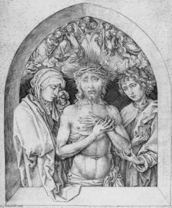 Martin Schongauer - The Man of Sorrows with the Virgin Mary and St John the Evangelist