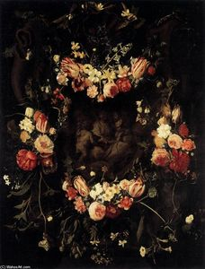 Daniel Seghers - Floral Wreath with Relief after Quellinus