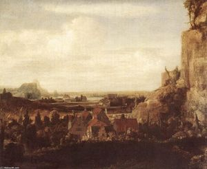 Hercules Seghers - A River Valley with a Group of Houses