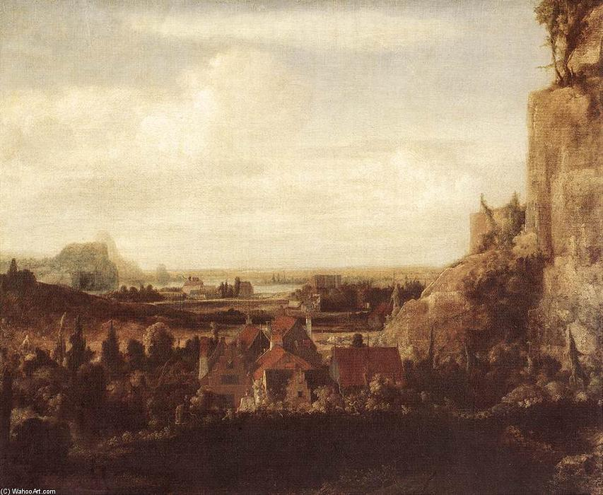 A River Valley with a Group of Houses, Oil On Canvas by Hercules Seghers (1590-1638, Netherlands)