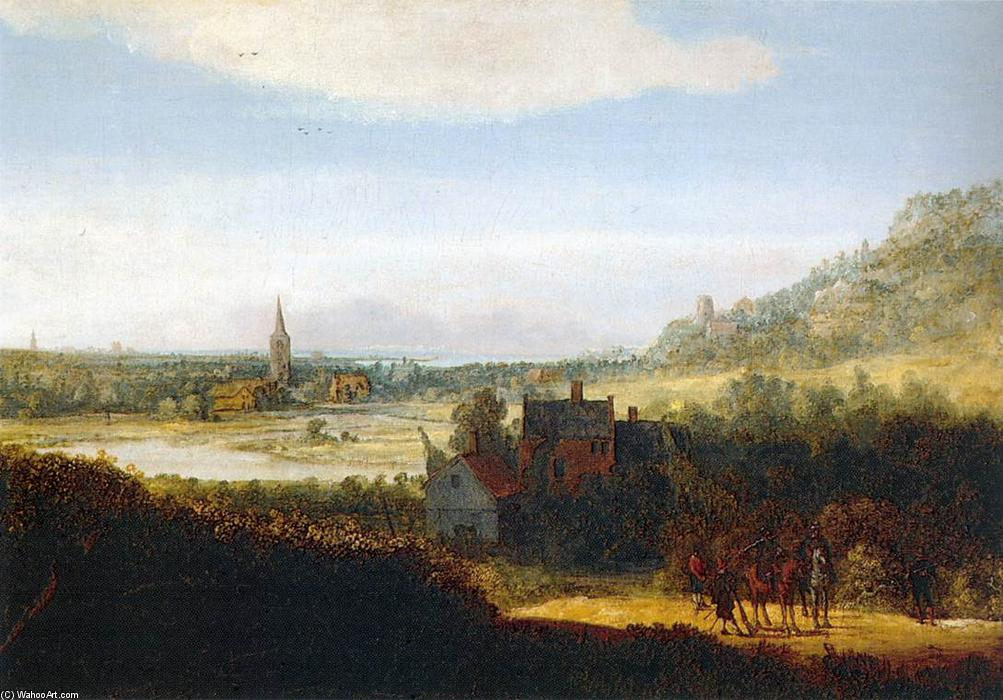 Landscape with Armed Men, 1625 by Hercules Seghers (1590-1638, Netherlands) | Famous Paintings Reproductions | WahooArt.com
