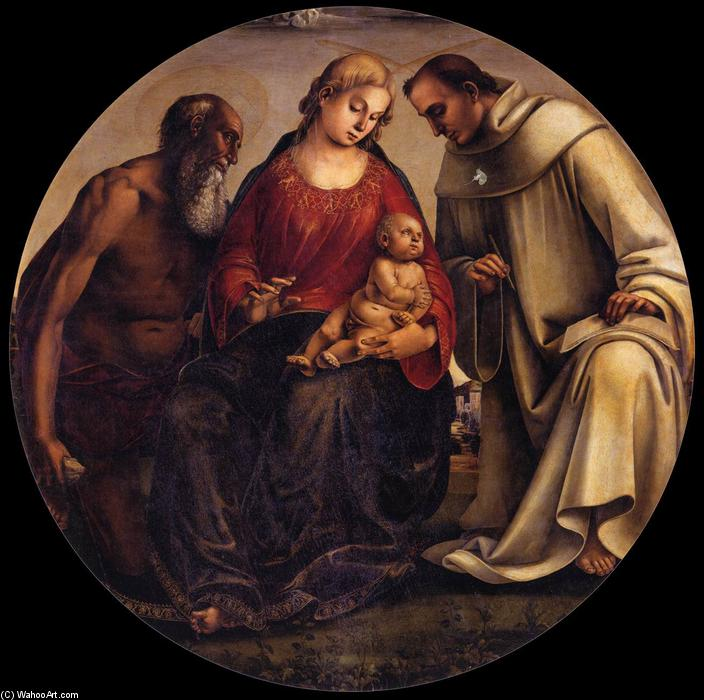 Virgin and Child with Sts Jerome and Bernard of Clairvaux, Oil On Panel by Luca Signorelli (1450-1523, Italy)