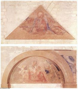 Simone Martini - Saviour Blessing (tympanum) and Madonna of Humility (lunette)