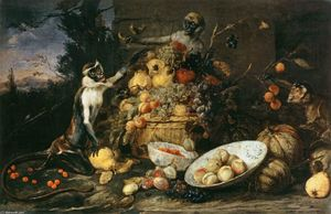 Frans Snyders - Three Monkeys Stealing Fruit