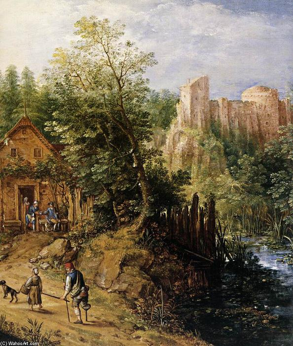 Mountain Valley with Inn and Castle (detail), Oil by Pieter Stevens (1567-1624, Belgium)