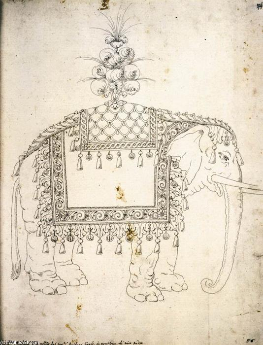 Sketch for the Trappings of an Elephant, 1571 by Jacopo Strada (1507-1588, Italy) | Paintings Reproductions Jacopo Strada | WahooArt.com