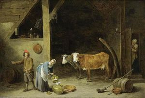 David The Younger Teniers - A Barn Interior