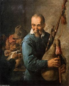 David The Younger Teniers - The Musette-Player