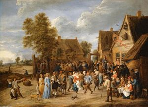 David The Younger Teniers - Village Revel with Aristocratic Couple