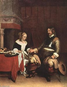 Gerard Ter Borch - Man Offering a Woman Coins
