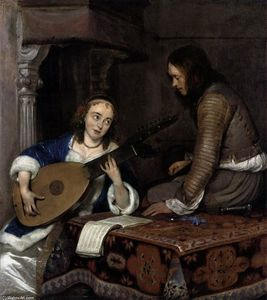 Gerard Ter Borch - Woman Playing the Theorbo-Lute and a Cavalier