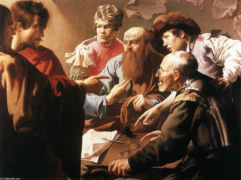 The Calling of St Matthew, 1621 by Hendrick Terbrugghen (1627-1629, Netherlands) | Famous Paintings Reproductions | WahooArt.com