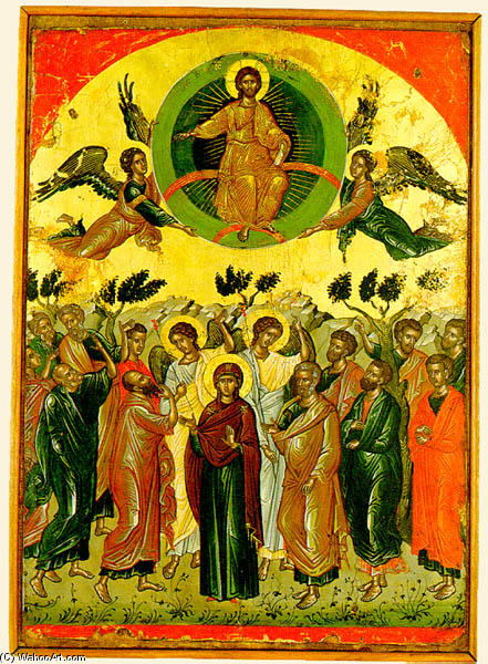 The Ascension, 1546 by Theophanes The Cretan (Theophanes Strelitzas) (1527-1559) | Paintings Reproductions Theophanes The Cretan (Theophanes Strelitzas) | WahooArt.com