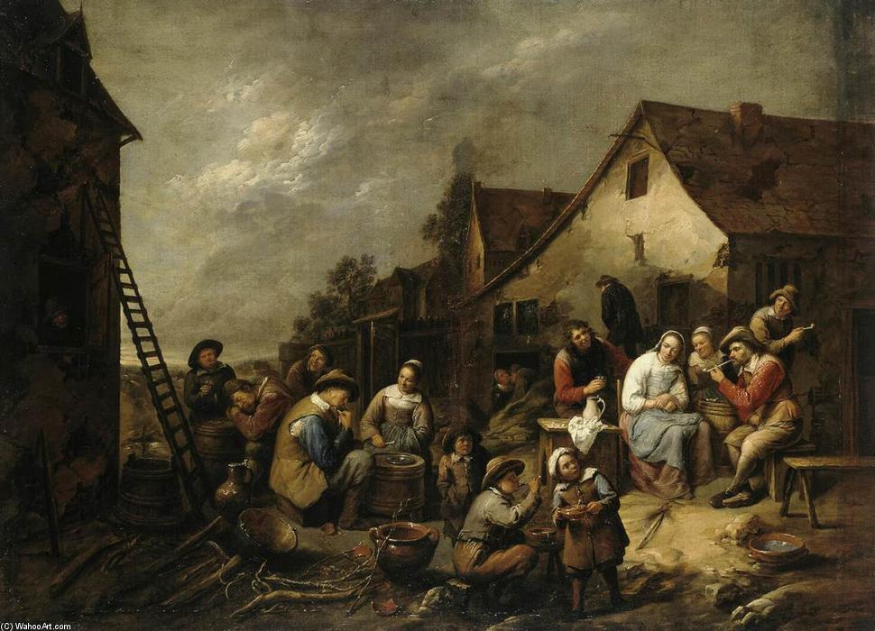 Village Inn, Oil On Canvas by Gillis Van Tilborgh (1625-1678, Belgium)