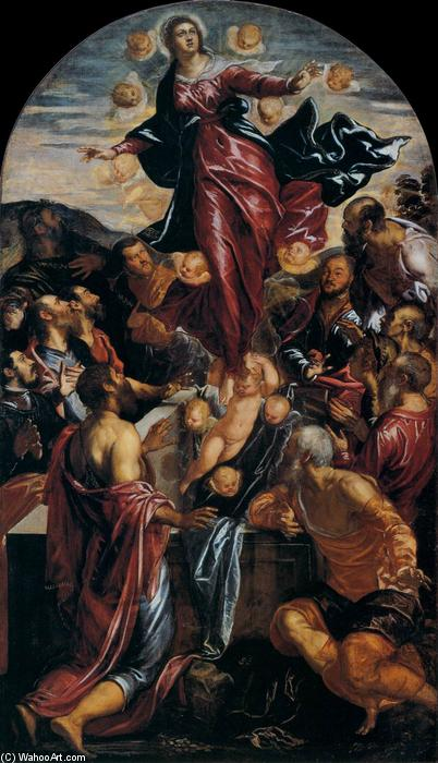 Assumption of the Virgin, 1550 by Tintoretto (Jacopo Comin) (1518-1594, Italy) | Art Reproduction | WahooArt.com