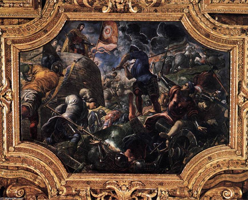 Defence of Brescia, 1584 by Tintoretto (Jacopo Comin) (1518-1594, Italy) | Oil Painting | WahooArt.com