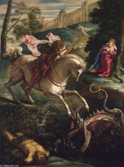 St George, 1543 by Tintoretto (Jacopo Comin) (1518-1594, Italy) | Famous Paintings Reproductions | WahooArt.com