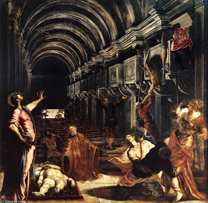 Order Famous Paintings Reproductions : St Mark Working Many Miracles, 1562 by Tintoretto (Jacopo Comin) (1518-1594, Italy) | WahooArt.com