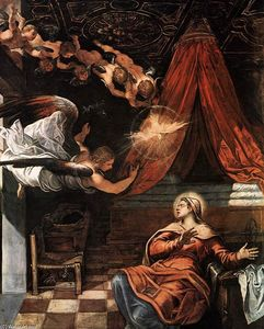 Tintoretto (Jacopo Comin) - The Annunciation (detail)