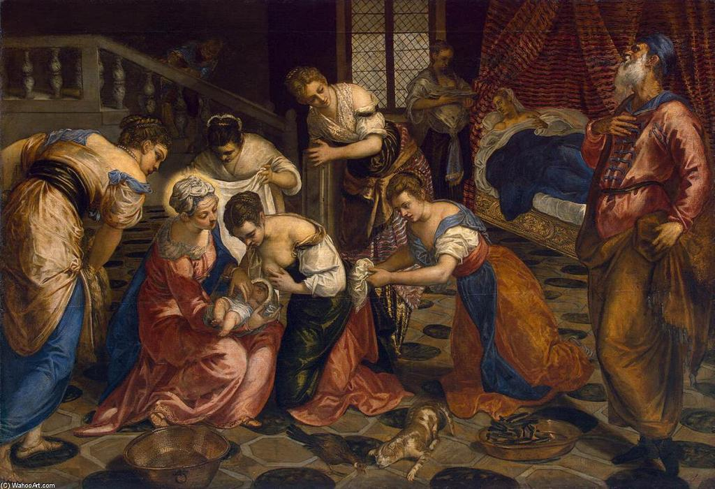 The Birth of John the Baptist, 1554 by Tintoretto (Jacopo Comin) (1518-1594, Italy) | Painting Copy | WahooArt.com