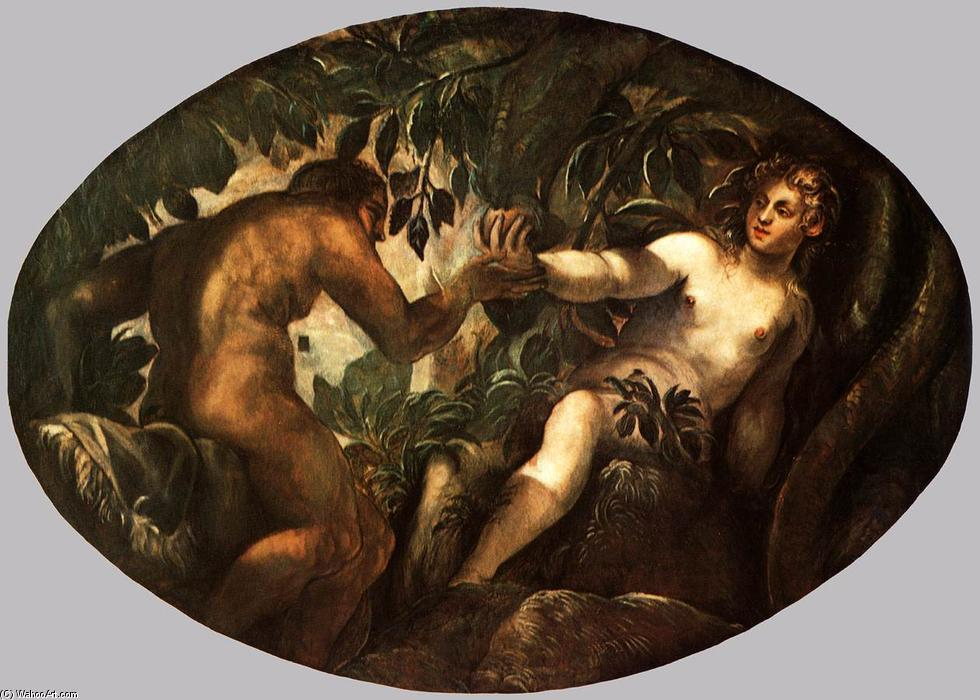 The Fall of Man, 1577 by Tintoretto (Jacopo Comin) (1518-1594, Italy) | Famous Paintings Reproductions | WahooArt.com