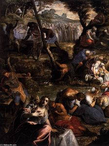 Tintoretto (Jacopo Comin) - The Jews in the Desert (detail)