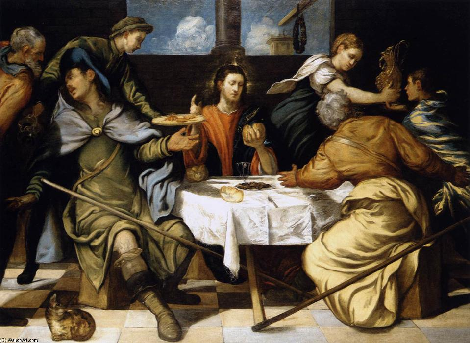 Order Painting Copy : The Supper at Emmaus, 1542 by Tintoretto (Jacopo Comin) (1518-1594, Italy) | WahooArt.com