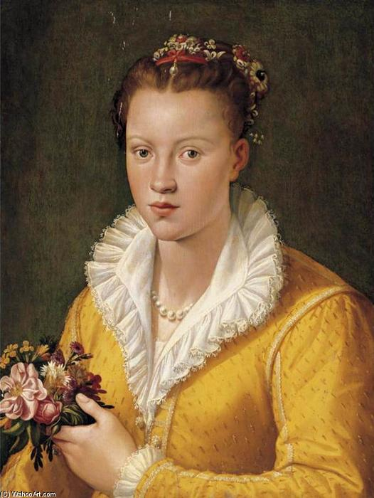 Portrait of a Girl, Oil On Panel by Santi Di Tito (1536-1603, Italy)