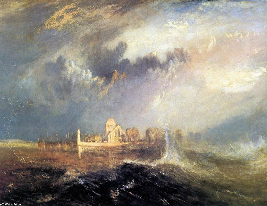 Quillebeuf, at the Mouth of Seine, 1833 by William Turner (1775-1851, United Kingdom) | Famous Paintings Reproductions | WahooArt.com