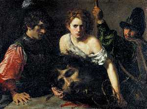 Valentin De Boulogne - David with the Head of Goliath and Two Soldiers