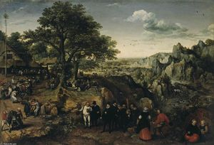 Lucas Van Valkenborch - Landscape with a Rural Festival