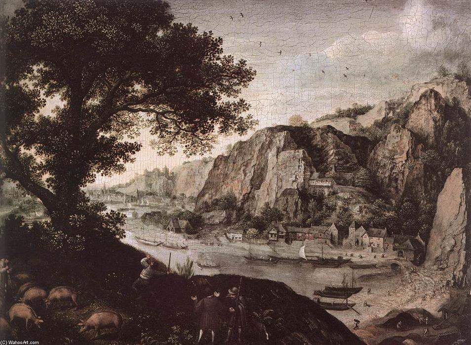 View of Huy from Ahin by Lucas Van Valkenborch (1535-1597, Belgium) | Paintings Reproductions Lucas Van Valkenborch | WahooArt.com