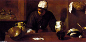 Diego Velazquez - Kitchen Scene with the Supper in Emmaus