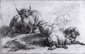 Adriaen Van De Velde - A Cow and Three Sheep