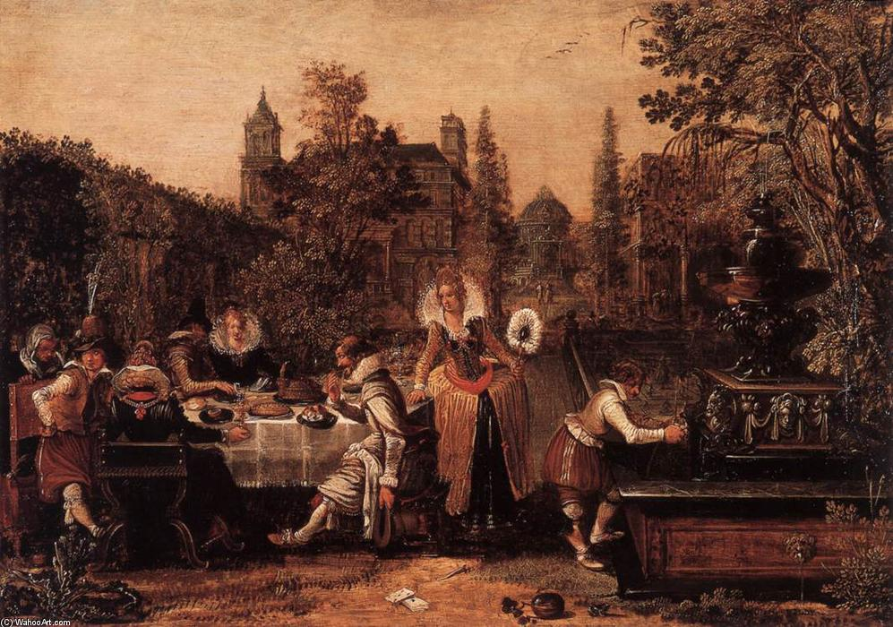 Garden Party before a Palace, Oil On Panel by Esaias Van De Velde (1587-1630, Netherlands)