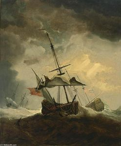 Willem Van De Velde The Elder - Small English Ship Dismasted in a Gale