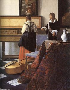 Jan Vermeer - A Lady at the Virginals with a Gentleman (detail)