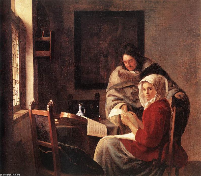 Order Paintings Reproductions | Girl Interrupted at Her Music, 1660 by Jan Vermeer (1632-1675, Netherlands) | WahooArt.com