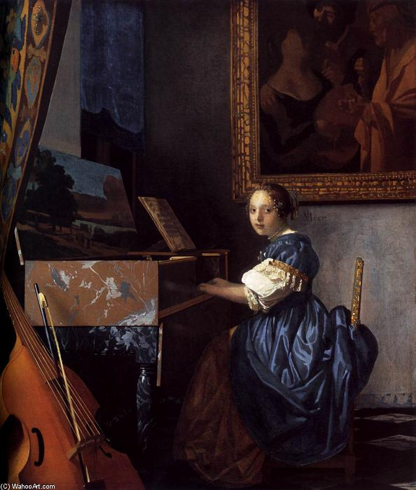 Lady Seated at a Virginal, Oil On Canvas by Jan Vermeer (1632-1675, Netherlands)