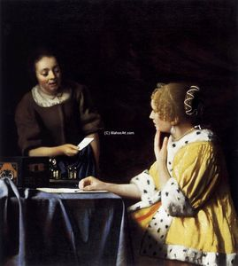 Jan Vermeer - Lady with Her Maidservant Holding a Letter