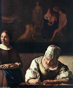 Jan Vermeer - Lady Writing a Letter with Her Maid (detail)