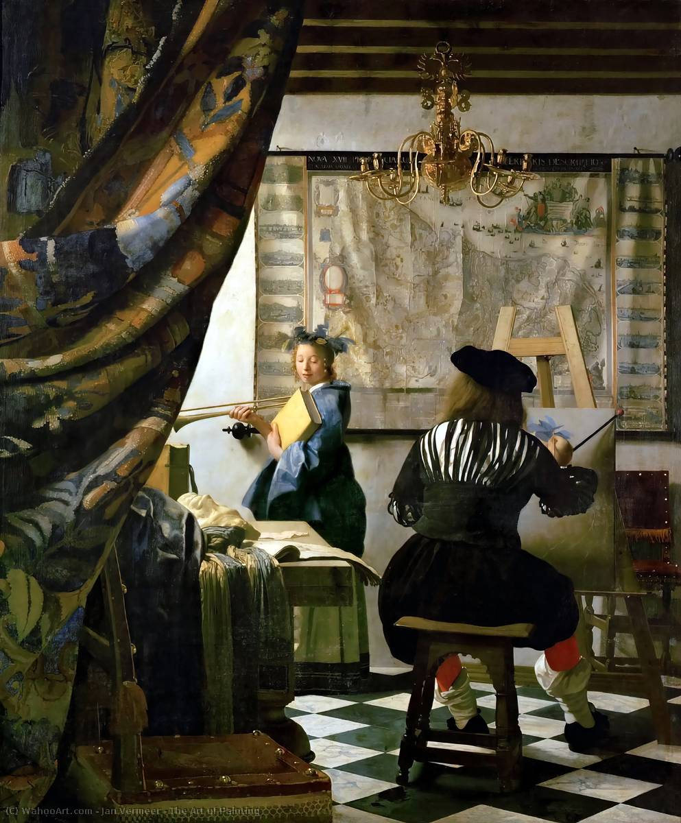 Order Art Reproductions | The Art of Painting, 1665 by Jan Vermeer (1632-1675, Netherlands) | WahooArt.com