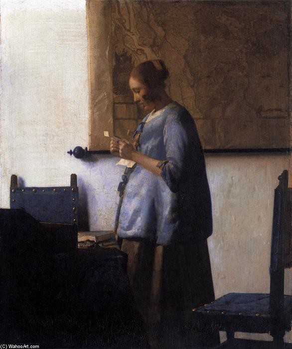 Woman in Blue Reading a Letter, 1663 by Jan Vermeer (1632-1675, Netherlands) | Oil Painting | WahooArt.com