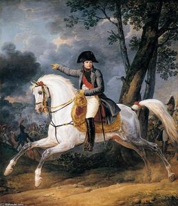 Order Museum Quality Copies | Equestrian Portrait of of Emperor Napoleon I, 1805 by Antoine Charles Horace Vernet Aka Carle Vernet (1758-1836, France) | WahooArt.com