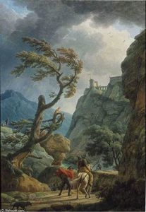 Claude Joseph Vernet - Soldiers in a Mountain Gorge, with a Storm