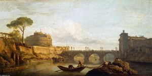 Claude Joseph Vernet - The Bridge and the Castel Sant'Angelo in Rome